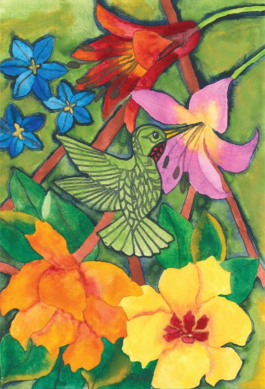 A beautiful painting of a hummingbird by Thelma, a resident at Dover Cliffs Long Term Care Home in Port Dover, Ontario