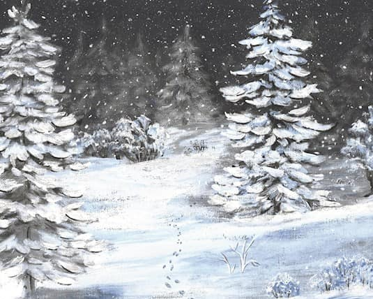 A painting of a snowy forest by Lorraine at The Bentley Moose Jaw