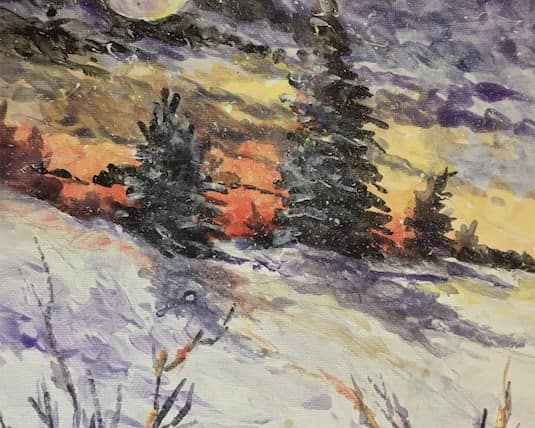 A painting of a snowy forest sunset by a resident at Blenheim Community Village