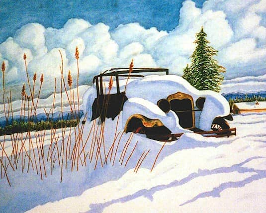 A painting of an old classic car mostly covered in snow by James at Fleetwood Villa