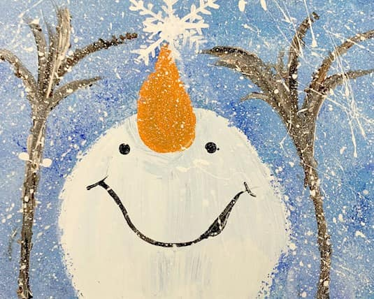 Painting of the face and arms of a snowman by a resident at Northridge LTC