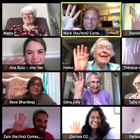 Screenshot of Zoom call featuring participants of the Revera and Reel Youth Age is More film project