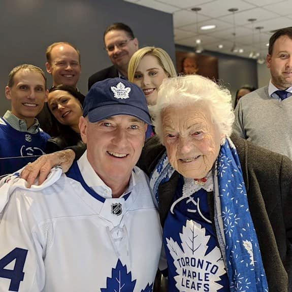 Hazel McCallion and Tom Wellner enjoying a Toronto Maple Leafs hockey game