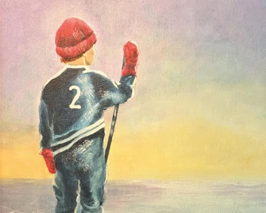 Holiday Card, Greenway - A child dressed in hockey gear stands on the ice