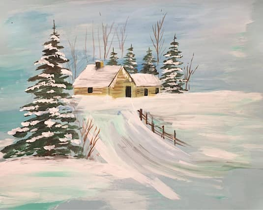 Holiday Card, Northridge - a snowy scene with a house and pine trees