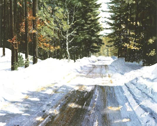 Holiday Card, The Williamsburg - A snowy road with pine trees