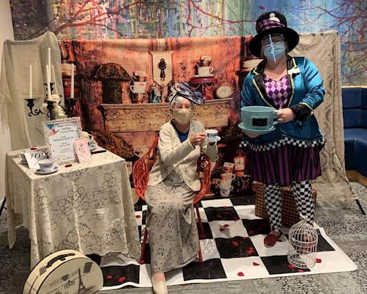 During the COVID-19 pandemic, the recreation team has had to be creative and rethink their programs to be as safe as possible. For example, they organized an Alice in Wonderland inspired mad hatter ladies' lunch.