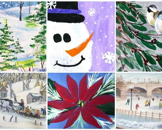 An image showing all six of the winners' entries in the Holiday Card Challengs