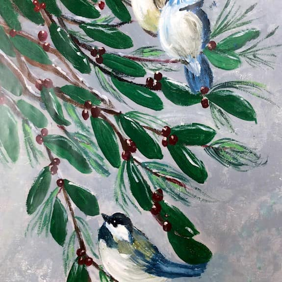 A painting of birds in a holly bush, painted by a Revera resident