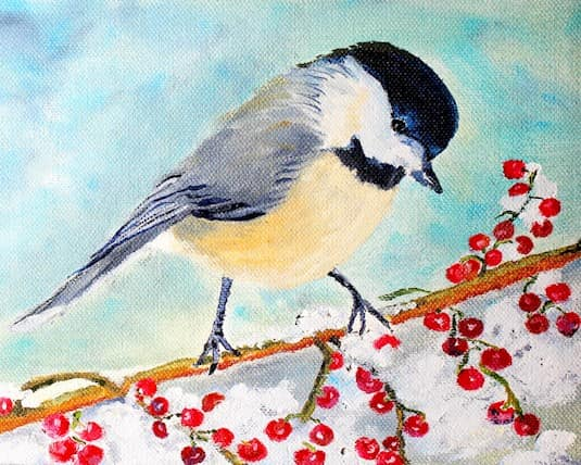 Painting of a bird on a berry branch by Barbara D'Arcy, a Revera resident
