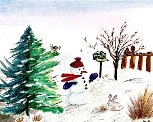 A paiting of a snowman in a yard by Doreen Richmond, a Revera resident