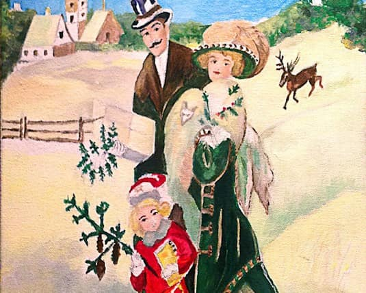 a painting of a family by Ines Oppenhuizen, a Revera resident