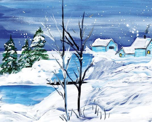 A painting of a snowy farm by June Stewart, a Revera resident