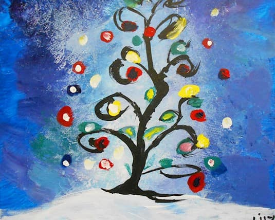 A painting of a stylized Christmas tree by Lily Carter, a Revera resident