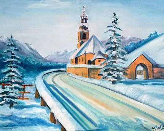 A painting of a snowy road leading to a church by Marie Smith, a Revera resident
