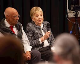 """Arthur Wickens and Eleanor Shore, two participants in the Age Is More Film Project, answer questions during the Q&A portion at the premiere of """"Anything Goes."""""""