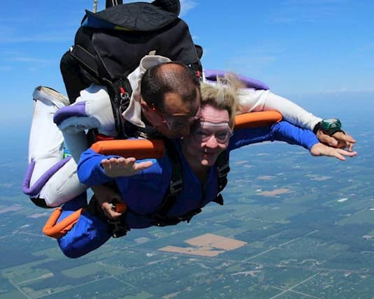 A photo of Dr. Collins skydiving