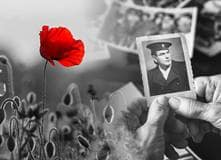 A red poppy on a black and white field, alongside an older woman's hands holding an aging photo of a soldier in uniform