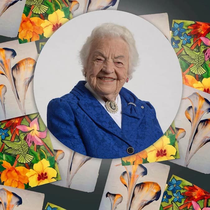 A photo of Hazel McCallion, featuring artwork created by Revera residents