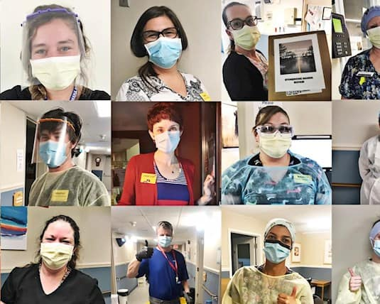 A collage showing long term care employees wearing their PPE