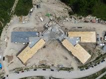 Photo from drone flyover of Elmwood Place Redevelopment, August 2020