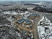 Photo taken from drone flyover, Elmwood Place Redevelopment, December 2020