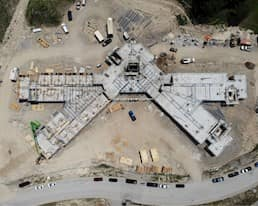 Overhead image of the Elmwood Place redevelopment taken by a drone July 2020