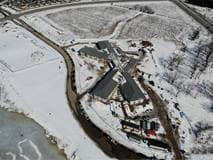 Photo taken from drone flyover, Elmwood Place Redevelopment, February 2021