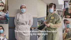 """Caregivers at Stoneridge Manor wearing PPE - text reads """"The Stoneridge Manor family has been working day and night"""""""