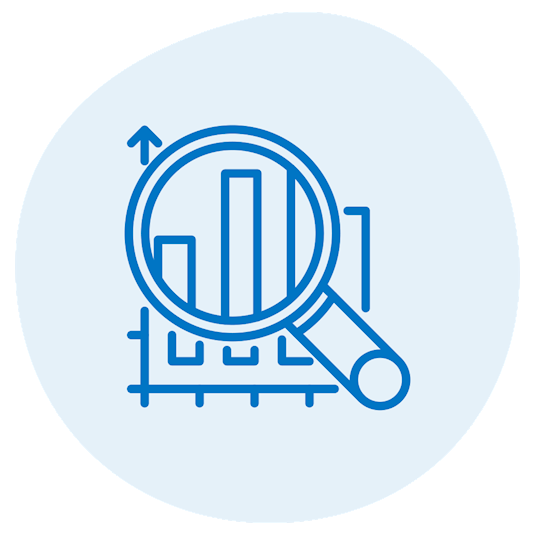 icon of magnifying glass over graph