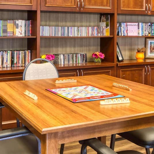 table in a library