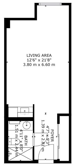 Suite 206 floor plan, Donway Place Retirement Residence, Toronto