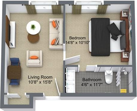 1 Bedroom Floor Plan, Hilltop Place, Richmond Hill