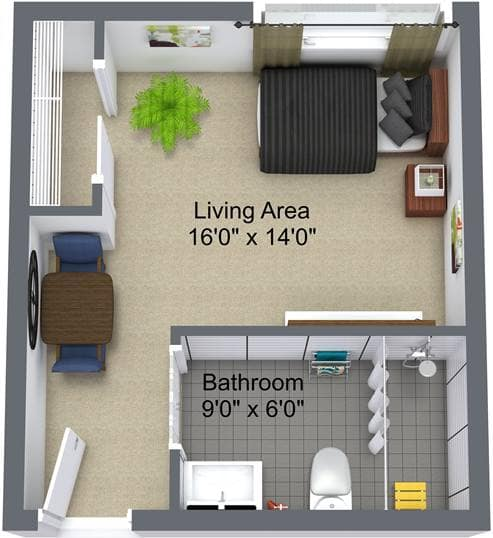 Studio Floor Plan, Hilltop Place, Richmond Hill
