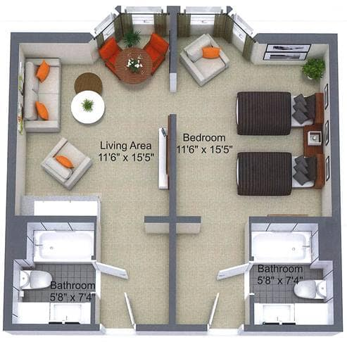 One Bedroom Floor Plan, Robertson House, Nepean