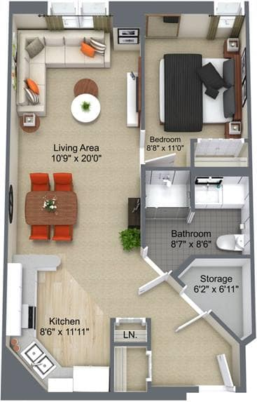 1 Bedroom Floor Plan, The Churchill, Edmonton