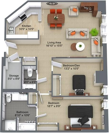 2 Bedroom Floor Plan, The Churchill, Edmonton
