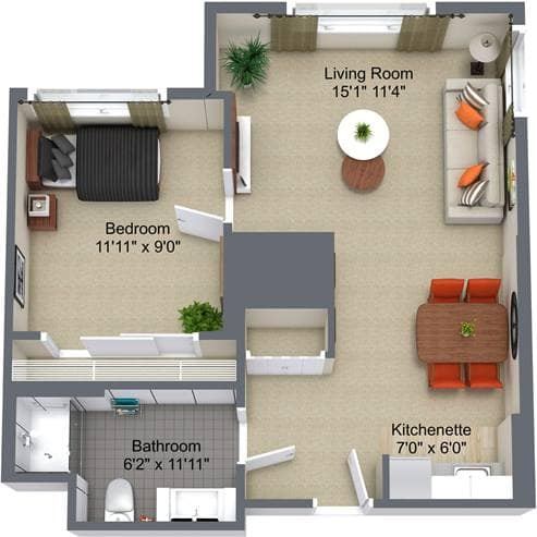 The Kensington 1 Bedroom