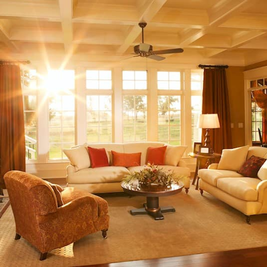 interior of living room with sunlight